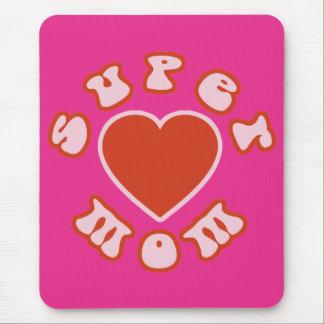 Cute Feminine & Girly Moms : Super Mom + Heart Mouse Pad
