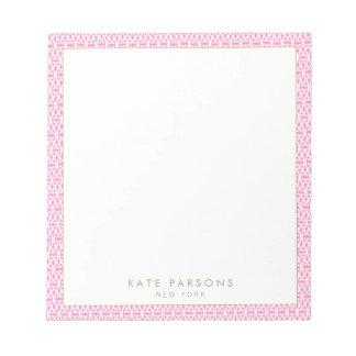 Cute Feminine Pink Lattice Pattern Notepad