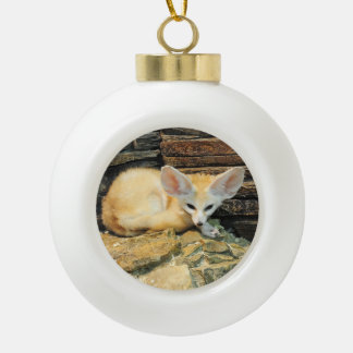 Cute fennec fox ceramic ball decoration