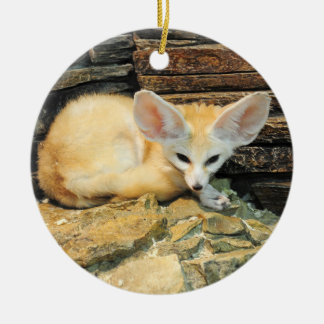 Cute fennec fox round ceramic decoration