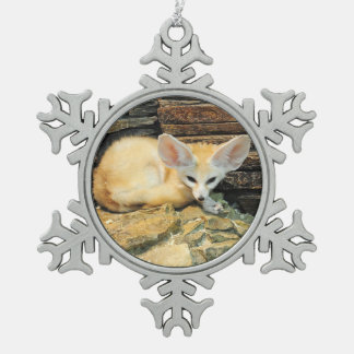 Cute fennec fox snowflake pewter christmas ornament