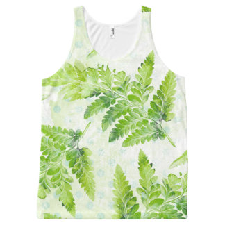 Cute Fern Leaves Modern Botanical Watercolor All-Over Print Tank Top
