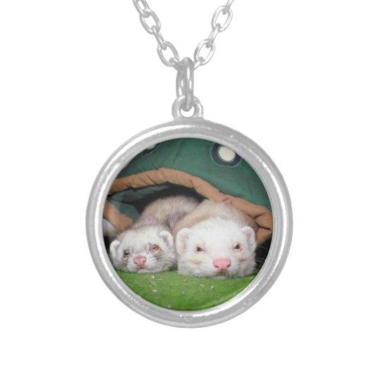 Cute ferret pair necklace