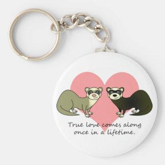 Cute Ferrets True Love Key Ring
