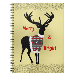 Cute Festive and Sparkly Red Nosed Reindeer Notebook