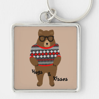 Cute Festive Bespectacled Big Bear Design Silver-Colored Square Key Ring