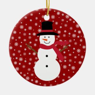 Cute Festive Cartoon Snowman Snowflakes & Stars Christmas Ornament