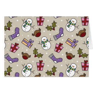 Cute Festive Characters Christmas Pattern Stationery Note Card