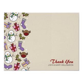 Cute Festive Characters Thank You Flat Note Card 11 Cm X 14 Cm Invitation Card