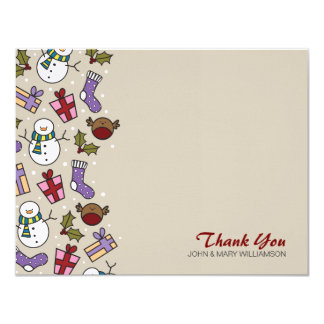 Cute Festive Characters Thank You Flat Note Card 11 Cm X 14 Cm Invitation Card