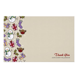 Cute Festive Characters Thank You Note Paper Personalized Stationery
