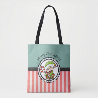 Cute Festive Elf with Candy Cane Merry Christmas Tote Bag