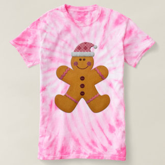 Cute Festive Gingerbread Man in Pink T-Shirt