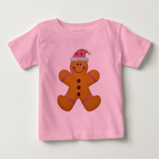 Cute Festive Gingerbread Man in Pink T Shirts