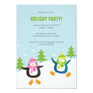 Cute Festive Penguin Holiday Party Card