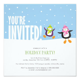Cute Festive Penguin | Holiday Party Invitation