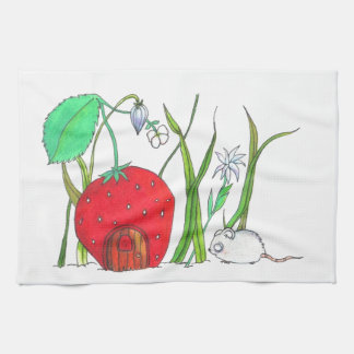cute field mouse and big red strawberry house tea towel