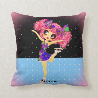 Cute Figure Skater Iceskating girl personalized Throw Pillows
