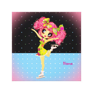 Cute Figure Skater Iceskating girl personalized Stretched Canvas Print