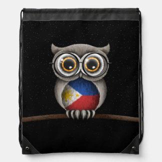 Cute Filipino Flag Owl Wearing Glasses Drawstring Bag