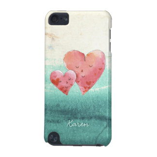 Cute Fine Art Love Hearts with Watercolor Pattern iPod Touch 5G Cases
