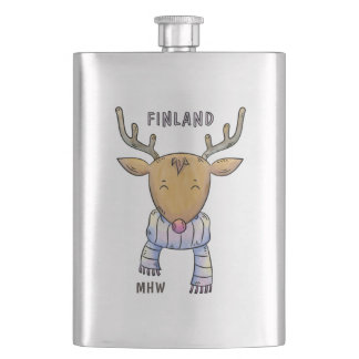 Cute Finland Reindeer custom monogram flask