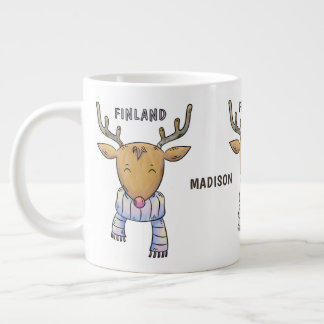 Cute Finland Reindeer custom name jumbo mug