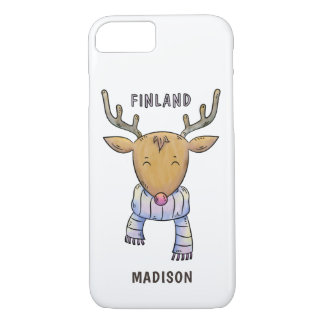 Cute Finland Reindeer custom name phone cases