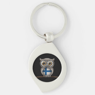 Cute Finnish Flag Owl Wearing Glasses Silver-Colored Swirl Key Ring