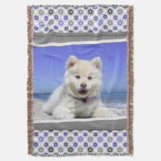 Cute Finnish Lapphund Dog Photography Print Throw Blanket