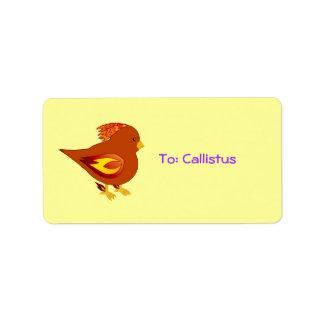 cute fire bird address label