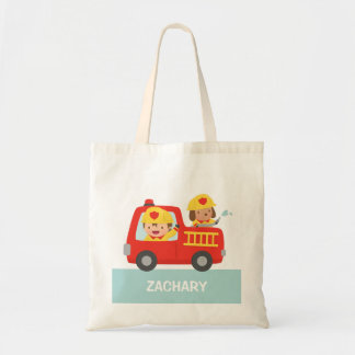 Cute Fire fighter Boy and Dog in Red Fire Trunk Budget Tote Bag