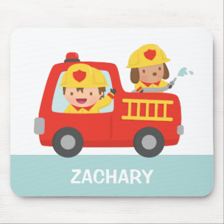 Cute Fire fighter Boy and Dog in Red Fire Trunk Mouse Pad