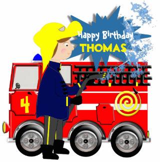 Cute Fire Fighter Truck Theme Cartoon Standing Photo Sculpture