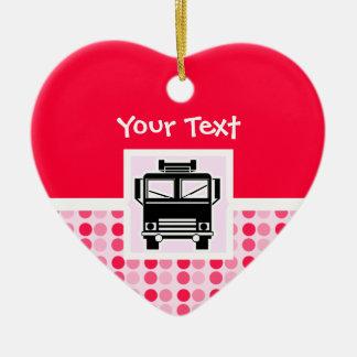 Cute Fire Truck Ceramic Heart Decoration