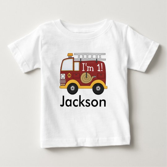 Cute Fire Truck Kids Birthday Personalised Baby T-Shirt
