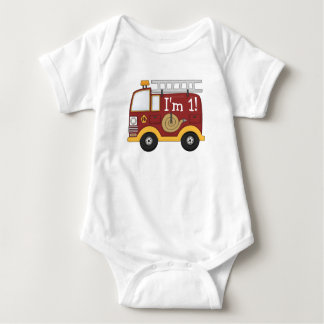 Cute Fire Truck Kids Birthday Personalized Baby Bodysuit