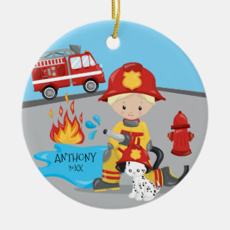 Cute Firefighter Blonde Boy Christmas Christmas Ornament