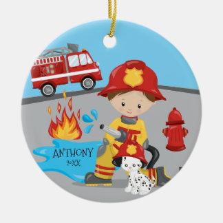 Cute Firefighter Brunette Boy Christmas Round Ceramic Decoration