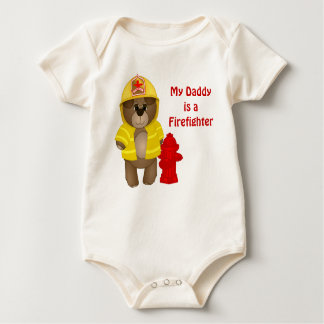 Cute Firefighter Kids Teddy Bear Cartoon Mascot Baby Bodysuit