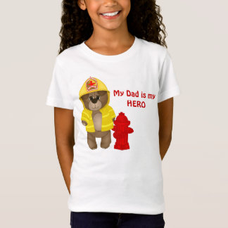Cute Firefighter Kids Teddy Bear Cartoon Mascot T-Shirt