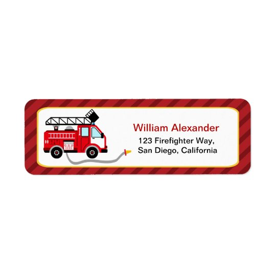 Cute Firefighter Return Address Labels