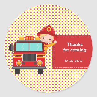 Cute Firefighter Round Sticker