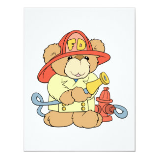 Cute Fireman Firefighter Bear 11 Cm X 14 Cm Invitation Card