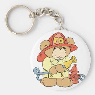 Cute Fireman Firefighter Bear Basic Round Button Key Ring