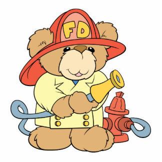 Cute Fireman Firefighter Bear Standing Photo Sculpture