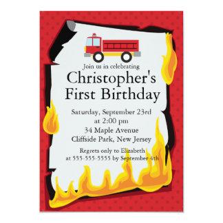 Cute Firetruck fireman Birthday Party Card