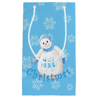 Cute First Christmas Snowman Small Gift Bag