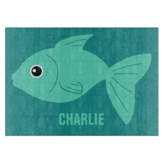 Cute Fish custom monogram cutting board