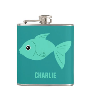 Cute Fish custom monogram flasks